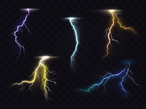 Lightning flash glowing light effects vector set Colored lightning bolt vector set on transparent background. Electric discharges, thunderbolt glowing realistic light effects. Stormy weather, powerful energy release, high voltage strike illustration thunderstorm stock illustrations