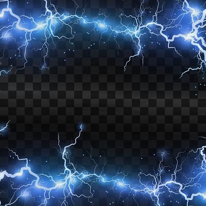 Lightning flash light thunder sparks on a transparent background