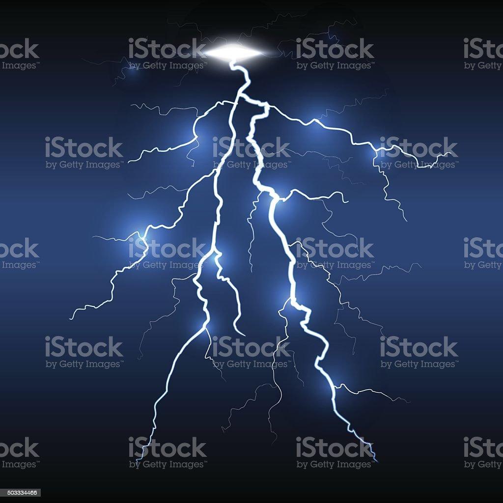 Lightning flash strike, dark background vector art illustration