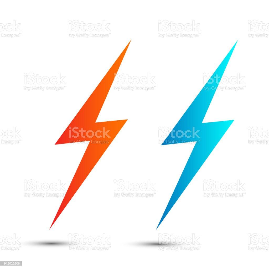 Lightning Flat Icons Set Simple Icon Storm Or Thunder And Lightning