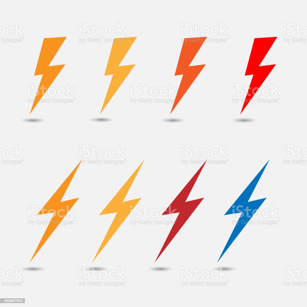 Lightning Flat Icons Simple Icon Storm Or Thunder And Lightning Strike  Isolated Stock Illustration - Download Image Now