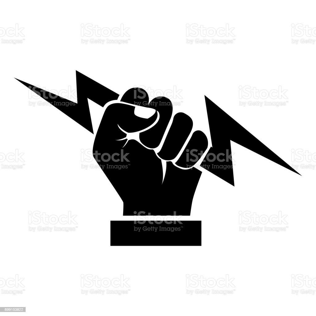 Lightning holding in hand black silhouette vector art illustration