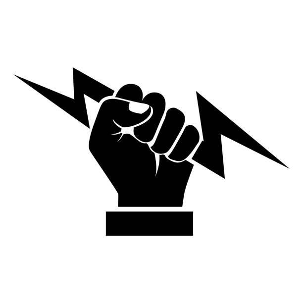 ilustrações, clipart, desenhos animados e ícones de relâmpago, segurando na mão negra silhueta - eletricista
