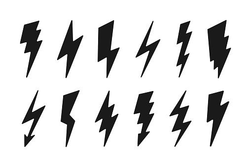 Lightning icon set - cartoon design. Vector thunderbolt symbols. Simple flash signs