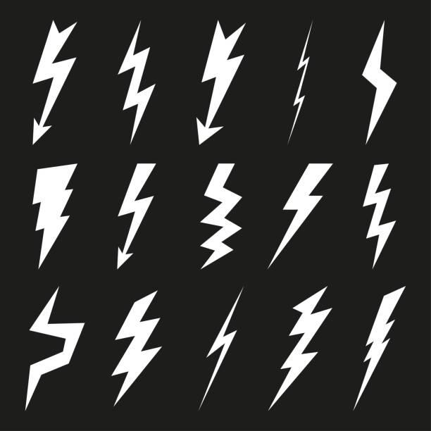 illustrazioni stock, clip art, cartoni animati e icone di tendenza di lightning icon set. electricity thunder and danger symbol. lightning strike, flash and arrow black icons. storm lightning silhouettes. vector illustration. - fulmine