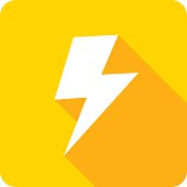 Vector illustration of a yellow lightning bolt icon in flat style.