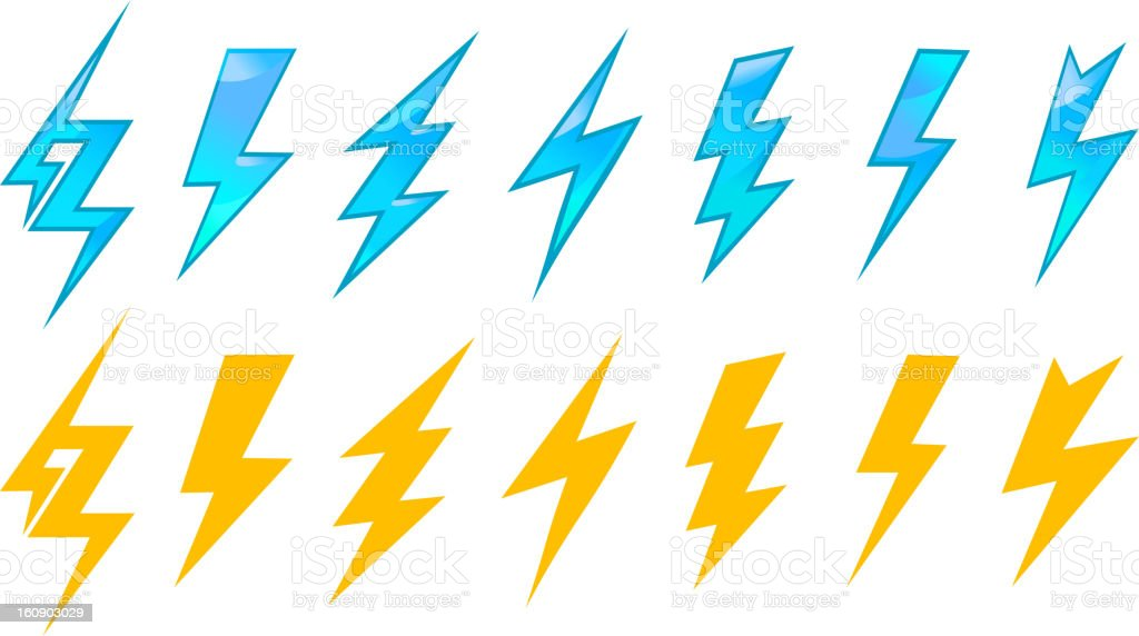 Lightning icons and symbols royalty-free stock vector art