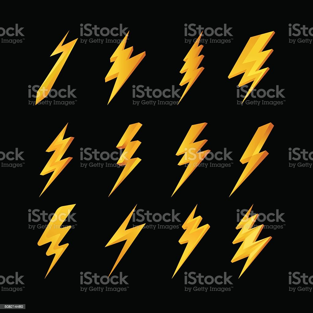 Lightning icons collection vector art illustration