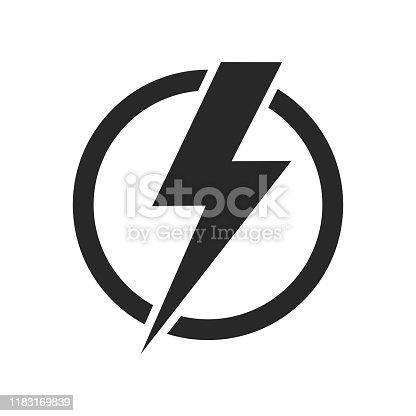 istock Lightning isolated vector icon. Electric bolt flash icon. Power energy symbol. Thunder icon. Circle concept. 1183169839