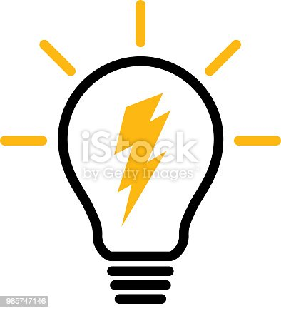 Vector illustration of a lightning bolt inside a lightbulb.