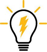 Vector illustration of a lightning bolt inside a lightbulb.