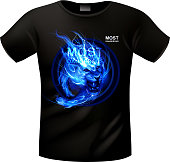 T-shirt with a vector picture of the running lightning lion. EPS 10 with blending colors effects/