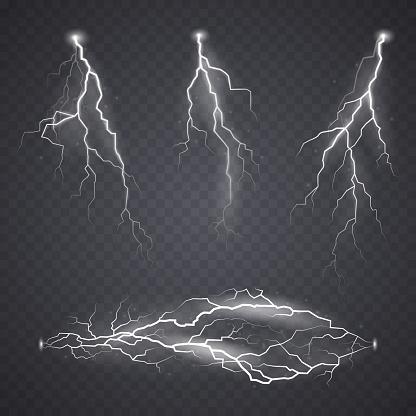 Lightning or bolt effect, bright realistic flash