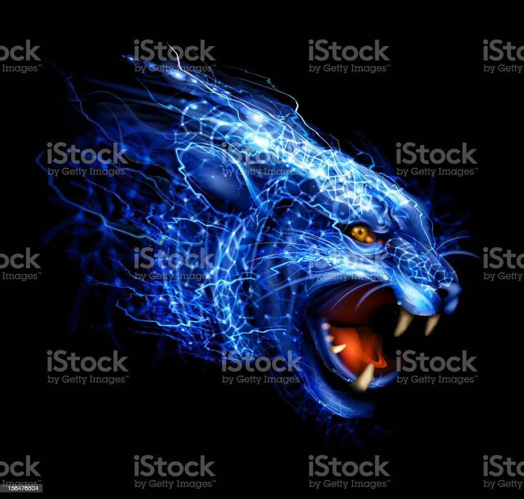 Lightning Panther Art vector art illustration