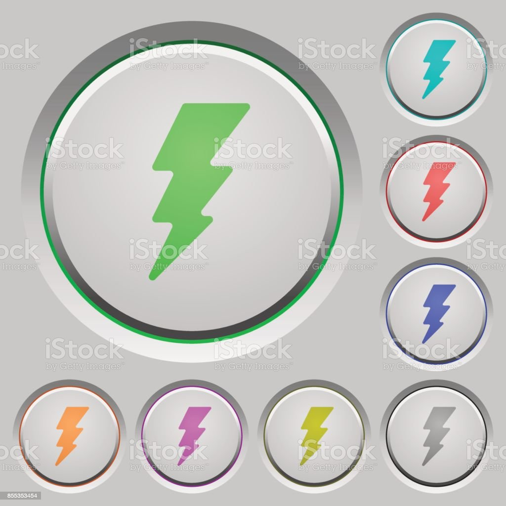 Lightning push buttons vector art illustration