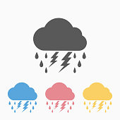 lightning rain cloud icon