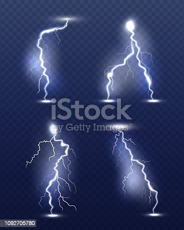 Lightning realistic. Energy glow special weather storm effects power electricity strike vector 3d symbols. Thunder lightning flash, storm light illustration