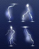 Lightning realistic. Energy glow special weather storm effects power electricity strike vector 3d symbols. Thunder lightning flash, storm light illustration