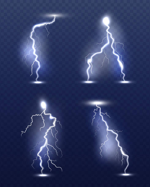 Lightning realistic. Energy glow special weather storm effects power electricity strike vector 3d symbols Lightning realistic. Energy glow special weather storm effects power electricity strike vector 3d symbols. Thunder lightning flash, storm light illustration lightning stock illustrations