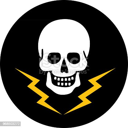 Vector illustration of a white skull on a black circle with gold lightning bolts under it.