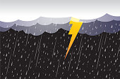 Lightning storm, clouds and storm,vector design