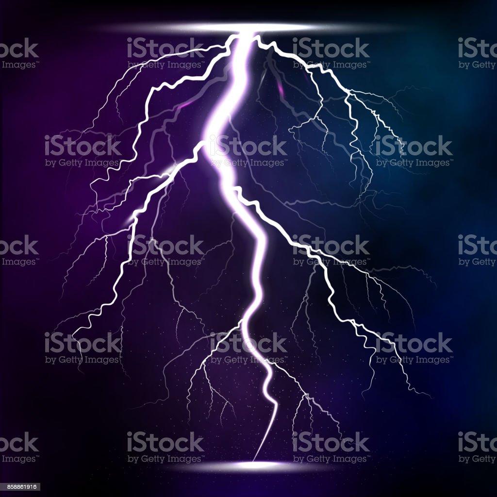 Lightning storm strike realistic 3d light lighting effects vector illustration - ilustração de arte vetorial