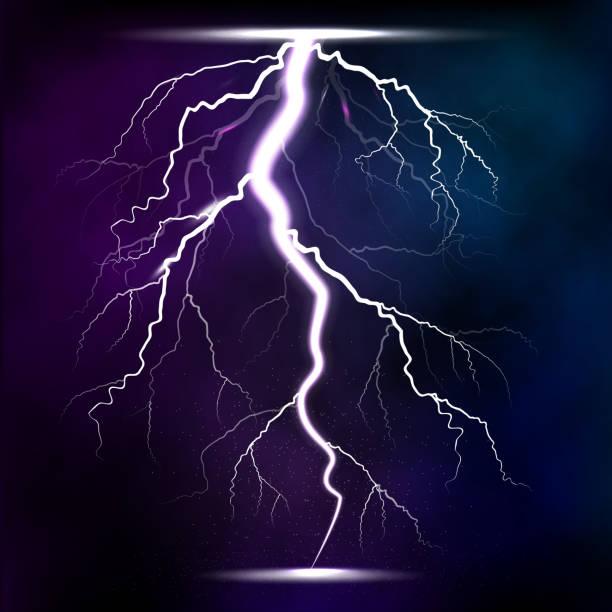 ilustrações de stock, clip art, desenhos animados e ícones de lightning storm strike realistic 3d light lighting effects vector illustration - greve