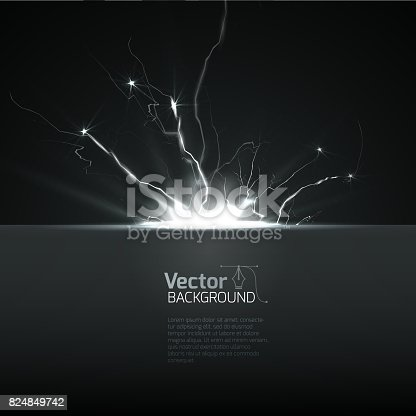 Lightning strike, Lightning abstract background. Vector illustration.