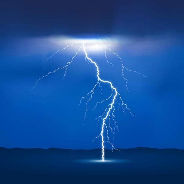 lightning strike lightning from sky to earth design forked lightning stock illustrations
