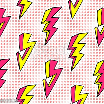 Lightning strikes seamless pattern in retro cartoon 80s style. Thunder lights wallpaper. Pop art background.