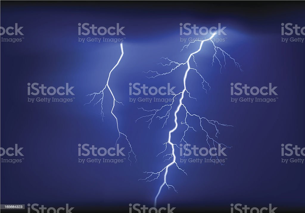 Lightning striking in the night sky royalty-free stock vector art