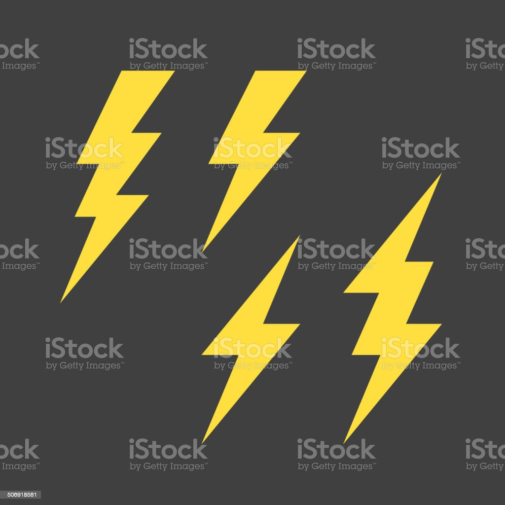 Lightning symbols set vector art illustration
