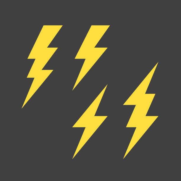 Lightning symbols set Flat lightning symbols set. Vector illustration. Eps10. thunderstorm stock illustrations