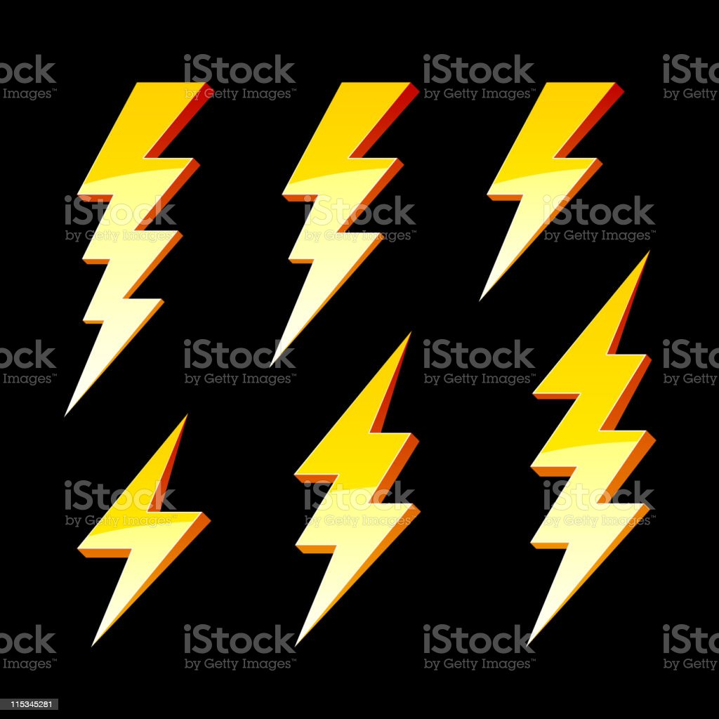 Lightning symbols royalty-free stock vector art