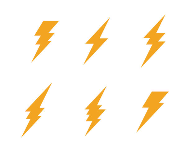 Lightning Logo Template Lightning Logo Template vector icon illustration design thunderstorm stock illustrations