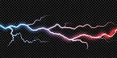 Lightning electric thunder storm light flash. Vector realistic lightning rain weather thunderbolt on black transparent background. Neon color energy electricity light flash or spark burst effect