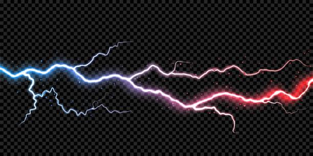 Blitz Donner Blitz Strom flash-Funken Thunderbolt Sturm leichte Vektor transparenten Hintergrund – Vektorgrafik