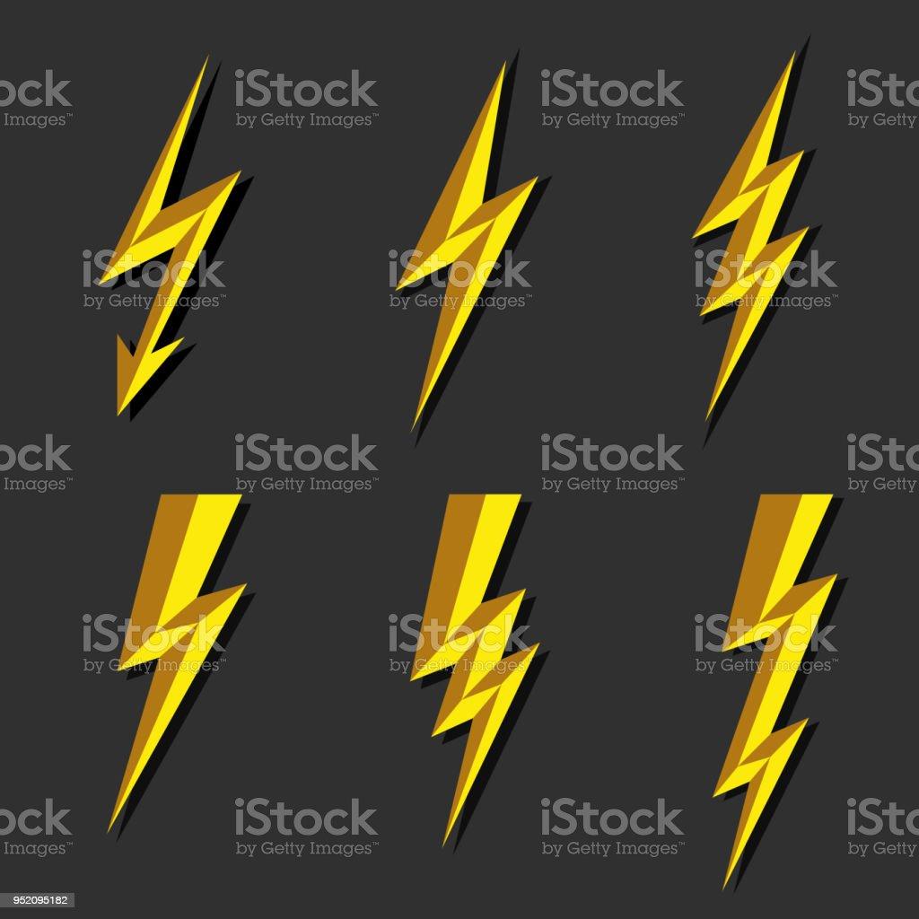 Blitzschnelle Thunderbolt Symbol Vektor. Flash Symbol Abbildung. Beleuchtung  Blinkt Icons Set. Flat