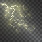 Lightning vector light effect. Decorative golden glowing lighting bolt on transparent background with magical gleaming halo and sparkling stardust.
