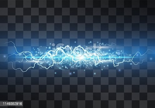 istock Lightning vector light effect. Decorative neon blue glowing lighting bolt, electrical discharge on transparent background with magical halo and sparkling stardust. Thunderbolt stream. Bursting flash. 1149352916