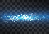 Lightning vector light effect. Decorative neon blue glowing lighting bolt, electrical discharge on transparent background with magical halo and sparkling stardust. Thunderbolt stream. Bursting flash.