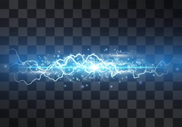efekt światła wektora błyskawicy. ozdobne neonowe niebieskie świecące oświetlenie śruby, wyładowanie elektryczne na przezroczystym tle z magiczną aureolą i musujące stardust. strumień thunderbolt. pęknięcie lampy błyskowej. - elektryczność stock illustrations