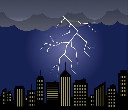 Lightning with cityscape vector illustration