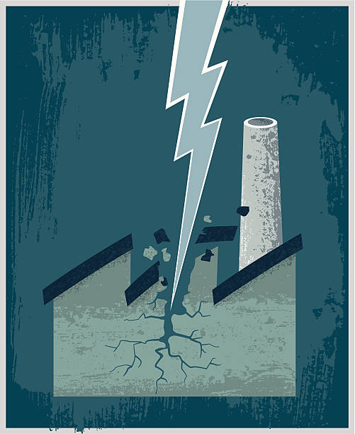 Lightning–Factory Lightning breaks a factory. A metaphor for the difficulties experienced by a company. forked lightning stock illustrations