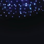 Many glowing blue lights on strings, background with garlands and place for text