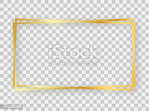 Double gold shiny 16x9 rectangular frame with glowing effects and shadows on transparent background. Vector illustration