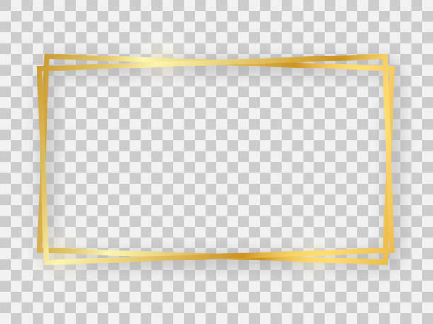 LightWave-03 Double gold shiny 16x9 rectangular frame with glowing effects and shadows on transparent background. Vector illustration frame border stock illustrations
