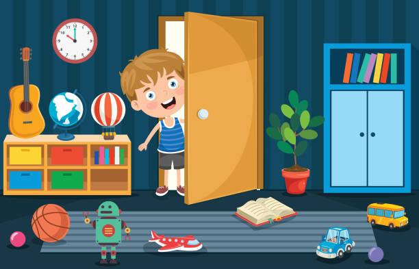 ilustrações, clipart, desenhos animados e ícones de liitle boy abrindo a porta - salas de aula