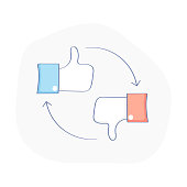 Like and dislike, follow and no follow social media icon. Thumb up and down, vote icon on white background.