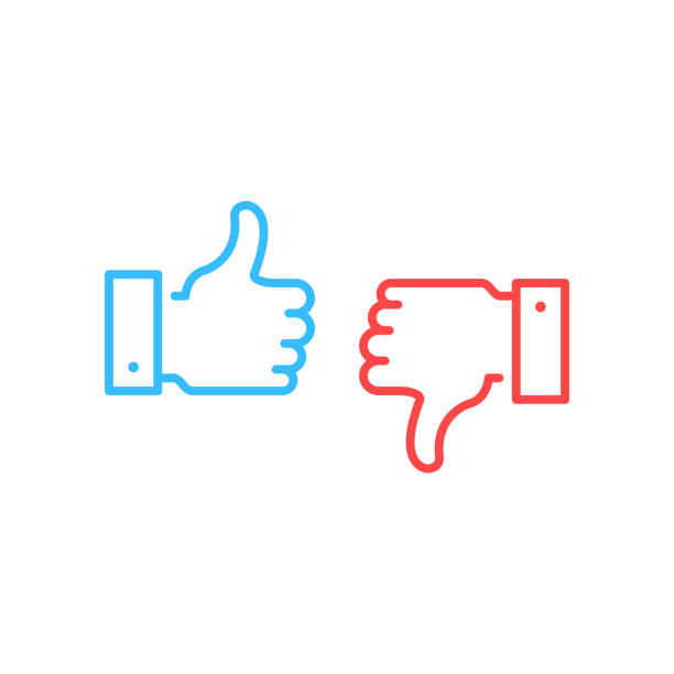 Like and dislike icons. Blue thumbs up and red thumbs down button. Simple linear outline style graphic elements. Social network, unlike, yes, recommend, good review, feedback concepts. Vector line icons set isolated on white background Like and dislike icons. Blue thumbs up and red thumbs down button. Simple linear outline style graphic elements. Social network, unlike, yes, recommend, good review, feedback concepts. Vector line icons set isolated on white background displeased stock illustrations